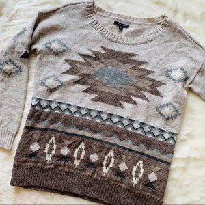 AEO American Eagle Tan Aztec Sweater